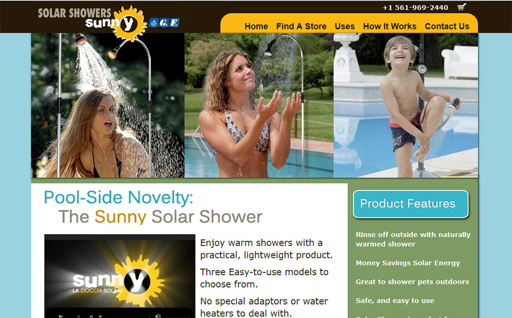 solar shower custom website