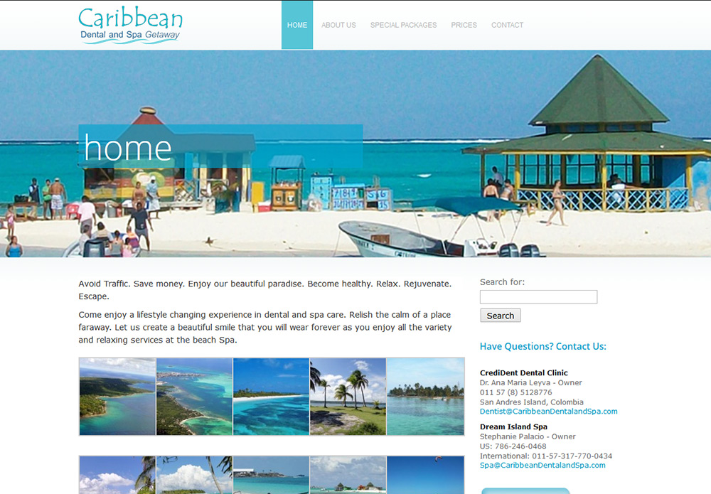 Caribean Dental and Spa - dentist and spa vacation website design