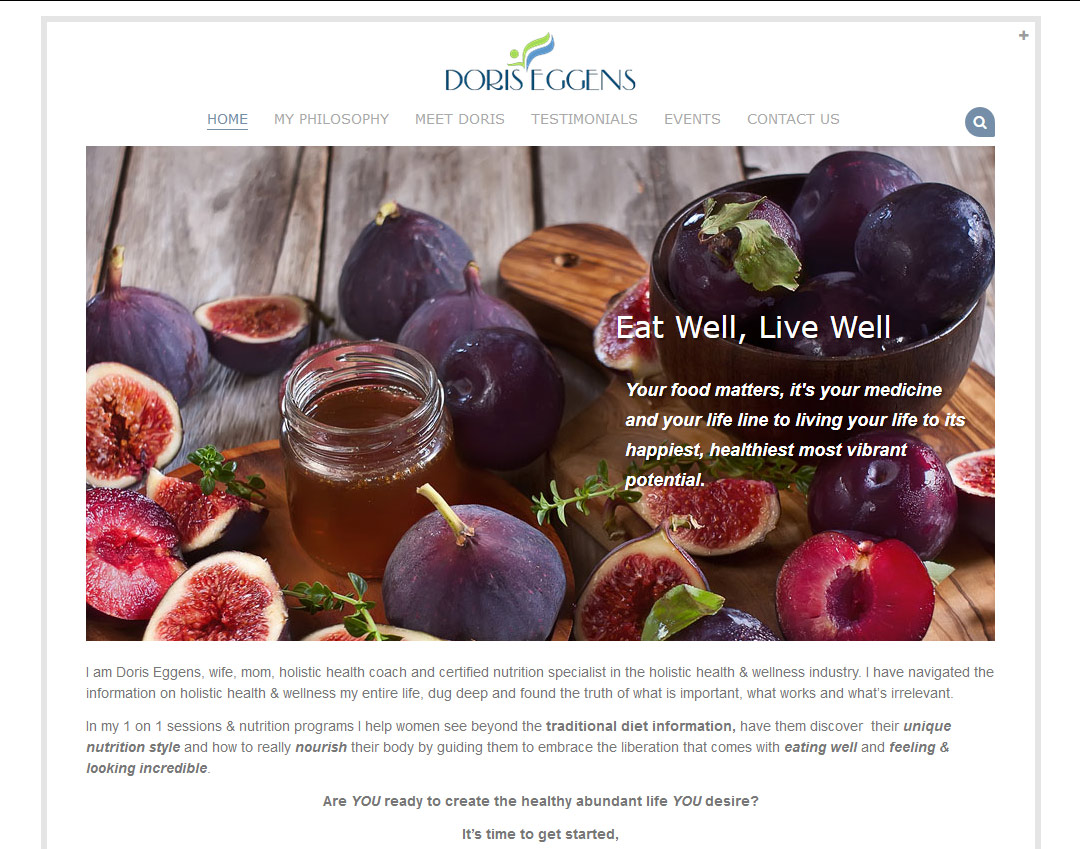 Doris Eggens - a nutritionist website design