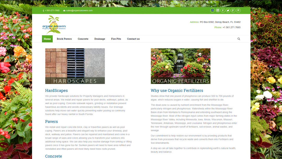 Organic Answers website design